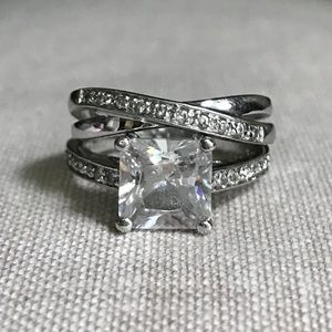 Jewelry - 3 Carat Princess Cut CZ Rhodium Wedding Set, Sz 6